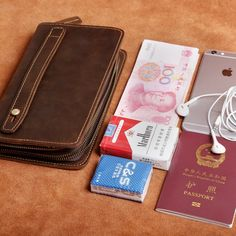8342eaf2272f Genuine Leather Mens Cool Long Leather Wallet Zipper Clutch Wristlet Wallet  for Men