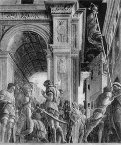St. James Led to his Execution - Andrea Mantegna. c. 1455. Destroyed on March 11, 1944, when the Ovetari Chapel in Padua was bombed by Allies during World War II.