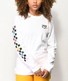 25dd09e3cb Vans Party Checkerboard White Long Sleeve T-Shirt