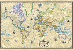 Antique World Wall Map Current Large Poster 48x36 - Paper #UniversalMapAmericanMap #Antique