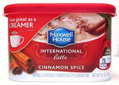 Maxwell House International Latte: Cinnamon Spice (Pack of oz Size: ounces. can be used as creamer Coffee Creamer, Coffee Latte, Maxwell House Coffee, Coffee Substitute, Discount Coffee, How To Order Coffee, Cinnamon Spice, Cafe Style, Instant Coffee
