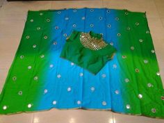 Exclusive customized georgette sarees . In this we have different color with opposite border and plain sarees with mirror...