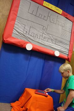 Giant Etch-A-Sketch! Test Church VBS - Connell UMC www.cokesburyvbs.com/2014 Gadgets And Gizmos Vbs, 2017 Gadgets, Vacation Bible School 2017, Group Vbs, Toy Story Crafts, Etch A Sketch, 2017 Vbs, Vbs Crafts, Cave Quest Vbs
