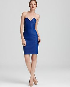 Catherine Malandrino Dress - Mixed Stretch Leather & Ponte Strapless | Bloomingdale's