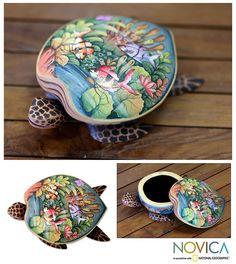 Wood jewelry box, 'Sea Turtle'