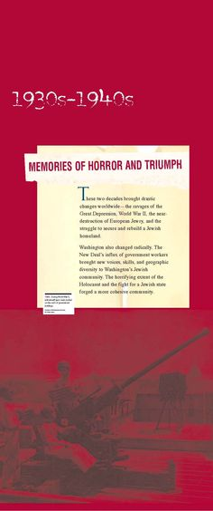 Section intro panel: 1930s - 1940s Memories of Horror and Triumph (click through for online exhibition)
