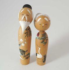 Vintage kokeshi doll Ref P, set of 2