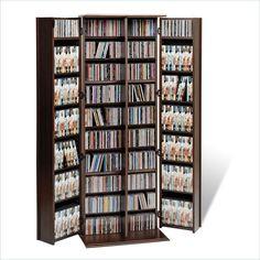 Large Locking Wood DVD CD Espresso Media Storage Cabinet Adjustable Shelves NEW #ShakerStyle