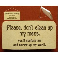 Please don't clean up my mess, you'll confuse me and screw up my world.   ~It's the truth!