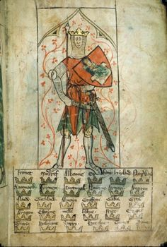 King Arthur with Shield, Royal 20 A. ii, f. 4, 14th Century, The British Library