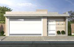 Resultado de imagem para muros e fachadas casa terrea Modern Garage Doors, Modern House Facades, House Front Design, Gate Design, House Entrance, Living At Home, Facade House, House Layouts, Model Homes
