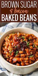 Brown Sugar and Bacon Bacon Beans ~ baked beans are semi-homemade and the perfect blend of sweet, savory and smoky.topped with delicious bacon, they're sure to be a hit! Canned Baked Beans, Baked Beans Crock Pot, Easy Baked Beans, Slow Cooker Baked Beans, Baked Beans With Bacon, Homemade Baked Beans, Baked Bean Recipes, Beans Recipes, Best Baked Beans Recipe Ever
