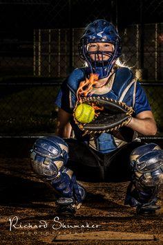 Senior softball catcher on fire