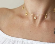 Dangle Crystal Necklace / Dangling Stone Necklace / Gold or