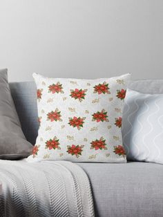 Christmas Poinsettia, Seamless Floral Pattern. Festive Red Flowers with gold branches on a White Background. • Millions of unique designs by independent artists. Find your thing.