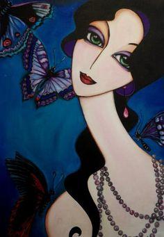 butterfly girl (Painting) by Yasemin Karabenli