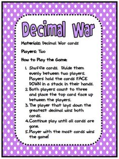 "FREE MATH LESSON - ""Decimal War Card Game"" - Go to The Best of Teacher Entrepreneurs for this and hundreds of free lessons. 5th Grade Math Games, Math 5, Fifth Grade Math, Guided Math, Math Teacher, Math Classroom, Fourth Grade, Math Work, Third Grade"