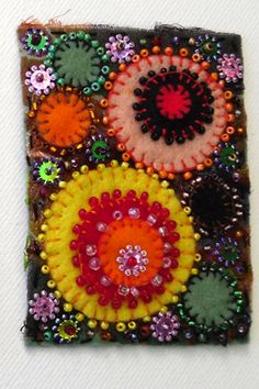 just simple circles - but so pretty with the colors and layering and beading!