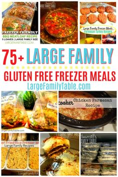Large Family Gluten-Free Meals & Freezer Meals Here are well over 75 large family gluten-free freezer meals. You're sure to find more than a few healthy freezer meals to serve your family! Gluten Free Meal Plan, Free Meal Plans, Gluten Free Recipes For Dinner, Foods With Gluten, Dairy Free Recipes, Sans Gluten, Recipes Dinner, Dinner Ideas, Gluten Free Frozen Meals