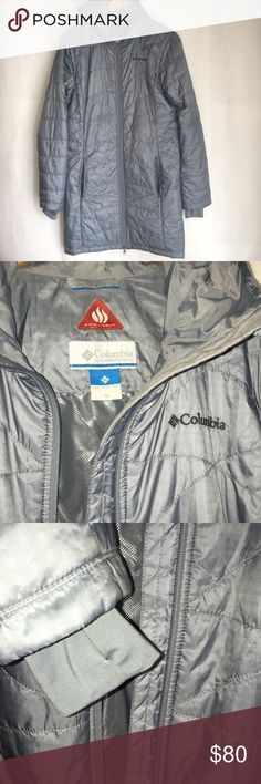 Columbia Omni-Heat Coat Columbia Omni Heat Coat. Size Medium. Omni Heat thermal reflective and insulated. Reflects Body heat, reduces your need for layers, and wicks moisture to keep your dry and comfortable. Comfort Cuffs, Thumb Holes. Two Zippered Exterior Pockets. Inner security Pocket. Great for The City and Easily Packs! Columbia Jackets & Coats