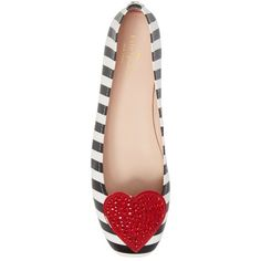 Women's Kate Spade New York Kade Crystal Embellished Heart Ballet Flat ($188) ❤ liked on Polyvore featuring shoes, flats, stripe shoes, ballerina flat shoes, ballerina pumps, striped flat shoes and kate spade flats