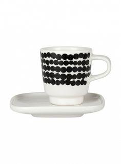 Oiva/Siirtolapuutarha-espressokuppi ja lautanen (valkoinen, musta) |Sisustustuotteet, Keittiö, Posliinit, Kupit ja mukit | Marimekko