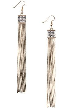 BAUBLES  CO CRYSTAL PAVE SQUARE BALL CHAIN FRINGE EARRINGS Gold -- Click image for more details.