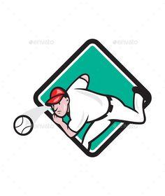 Baseball Pitcher Diamond Cartoon