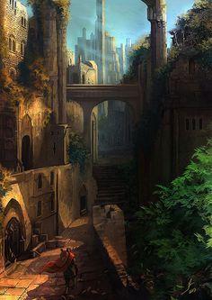 Fantasy Concept art by Demosemos on Tumblr. A city both advanced and primitive. --CLK #fantasyart #city #stone