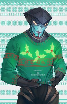 ME Christmas Sweaters - Javik Mass Effect Games, Mass Effect Art, Comic Movies, Comic Games, Thane Krios, Tomb Raider Cosplay, Mass Effect Universe, Alien Art, Creative Illustration