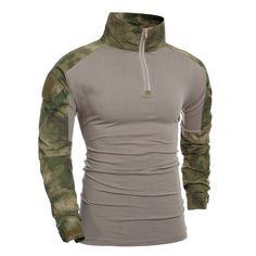 Outdoor Half Zip Pullover Camo Splicing T-Shirt For Men