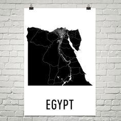 Egypt Map, Egyptian Art, Egyptian Gifts, Egyptian Wall Art, Map of Egypt, Bolivian Art, Bolivia Decor, Egypt Print, Egypt Poster, Egypt Art