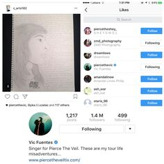 I absolutely died when Vic Fuentes liked my drawing of him on Instagram