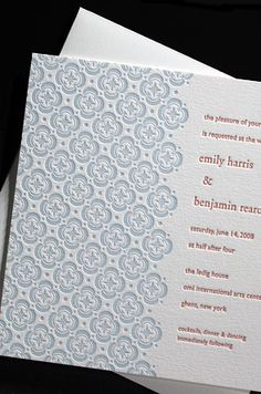 Majorca letterpress wedding invitation: designed by Martha Stewart Weddings Magazine for Bella Figura. Vibrant letterpress printing, poppy and poppies of happiness, designed by Martha Stewart Weddings :  invitation majorca letterpress printing