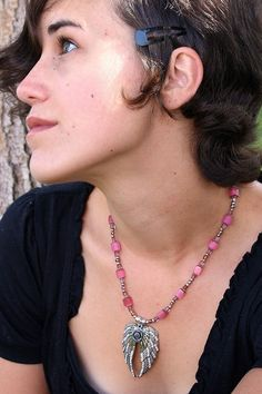 Pink and silver angel wing 16 inch necklace by KConklinJewelry on Etsy