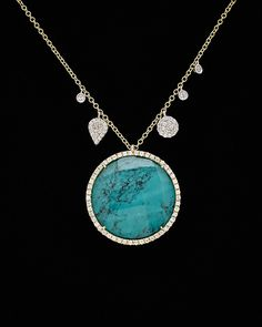 Spotted this Meira T 14K Two-Tone & Silver 22.66 ct. tw. Diamond & Turquoise Pendant on Rue La La. Shop (quickly!).