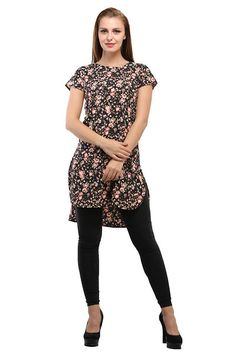 0f7dfb7566d8ed Black and Multi Color Floral Printed Tunic