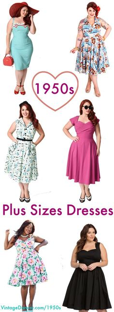 Perfect fitting retro vintage plus size dresses, plus size swing dress, and plus size pin up dresses for the curvy hep cats of today. Robes Vintage, Vintage Dresses 50s, Vintage Outfits, 1950s Dresses, Victorian Dresses, Vintage Fashion 1950s, Retro Fashion, Retro Vintage, Womens Fashion