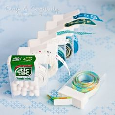 Organize your trims and ribbons with TicTac containers. (in Swedish and English)
