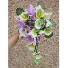 Bouquet de mariée vert anis et parme