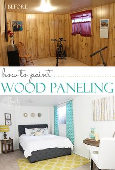 How to paint wood paneling. Make a dated room look chic instantly! - So glad there was very little wood paneling. We wouldnt have bought the house if it was this bad Wood Paneling Makeover, Painting Wood Paneling, Basement Makeover, Paneling Painted, Wood Paneling Decor, Paneling Ideas, Paneling Remodel, Painting Wood White, Cover Wood Paneling