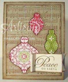 Musical Ornament Stitched card - November project   Jane Lee http://janeleescards.blogspot.com