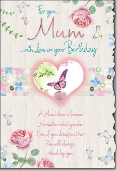 Shabby Chic Mum Birthday Card with Lovely Sentiment.