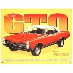 Pontiac GTO Muscle Car Tin Sign