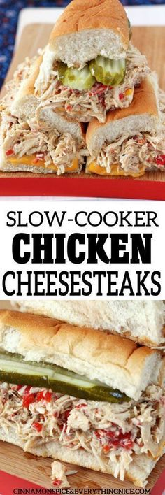Chicken Cheesesteaks A delicious hands-off dinner made in your slow-cooker! Slow-Cooker Chicken CheesesteaksA delicious hands-off dinner made in your slow-cooker! Slow Cooker Huhn, Crock Pot Slow Cooker, Crock Pot Cooking, Slow Cooker Chicken, Slow Cooker Recipes, Crockpot Recipes, Cooking Recipes, Healthy Recipes, Easy Recipes