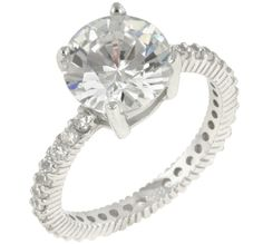 Anika Round Solitaire Engagement Ring | 4.5ct | Cubic Zirconia | Sterling Silver