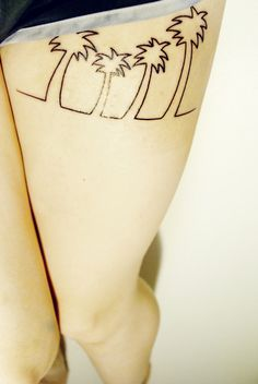 simple palm tree tattoo.. Id really love to get a tattoo like this one