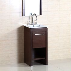Bellaterra Home Monterrey 16 In. W X 16 In. D X 33.5 In. H Vanity In Wenge  With Ceramic Vanity Top In White With White Basin