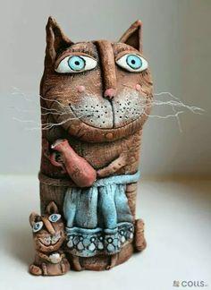 Maneki Neko, Crazy Cat Lady, Crazy Cats, Shadow Theatre, Sculptures, Lion Sculpture, Ceramic Wall Art, Ceramic Animals, Bottle Art