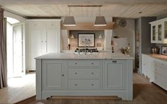 In the uk neptune kitchen, gray island, grey kitchens, kitchen grey, cabin Grey Kitchen Island, Grey Kitchen Cabinets, Kitchen Cabinet Colors, Country Kitchen, New Kitchen, Gray Island, Kitchen Islands, Country Living, Barn Kitchen